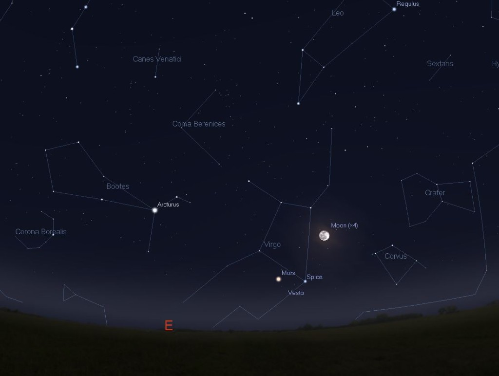 Mars, Spica, and a just-past-full Moon rising in the eastern sky at 11 p.m. on March 17, 2014.