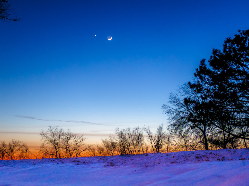 Mars, Venus, and the crescent Moon